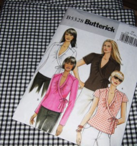 Black cotton gingham for a retro styled wrap blouse