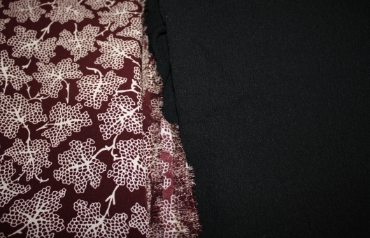 Burgundy/cream poly print - long sleeved dressBlack crinkle cotton - maxi dress